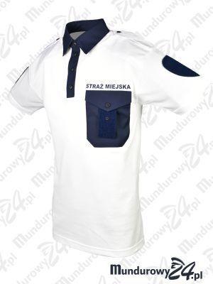 Koszulka polo służbowa STRAŻ MIEJSKA, biała