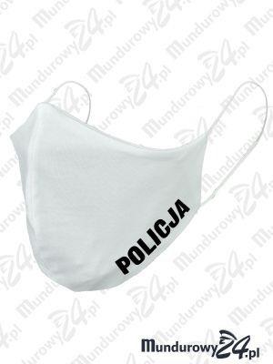 Anatomiczna maska ochronna, wielorazowa, POLICJA - wz3, biała