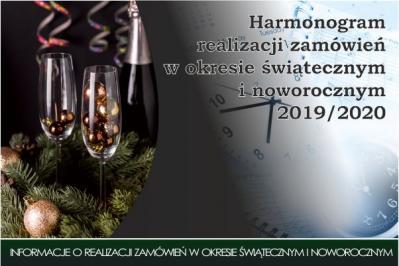 Harmonogram pracy w okresie świątecznym i noworocznym 2019/2020