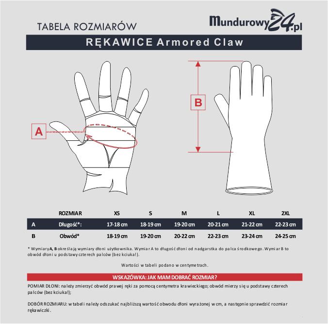 Tabela rozmiarów: rękawice ARMORED CLAW