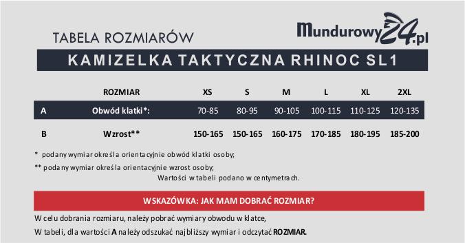 Tabela rozmiarów: KAMIZELKA TAKTYCZNA RHINOC SL1