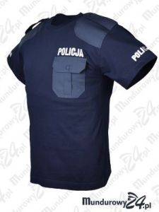 Koszulka t-shirt z naramiennikami POLICJA - granatowa