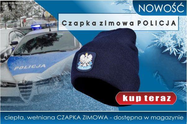 NOWOŚĆ! Ciepła, wełniana CZAPKA zimowa POLICJA!