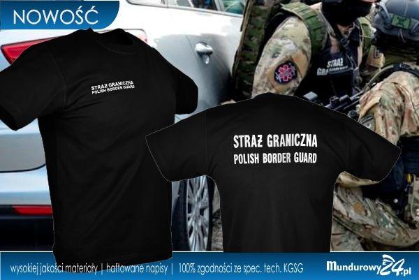 Koszulka t-shirt służbowa STRAŻ GRANICZNA czarna