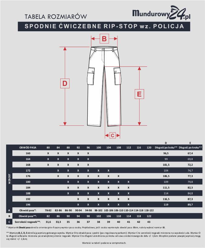 Tabela rozmiarów: SPODNIE ĆWICZEBNE RIP-STOP wz. POLICJA